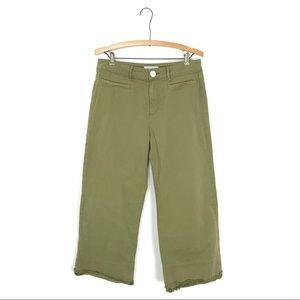 LOFT Wide Leg Crop Pants Olive Green Raw Hem 6 B5